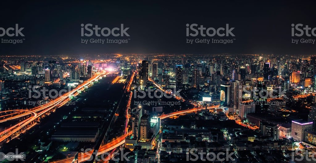 Bangkok city by night stock photo