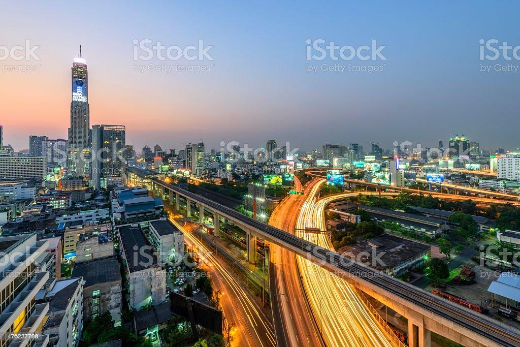 Bangkok city day view with main traffic royalty-free stock photo