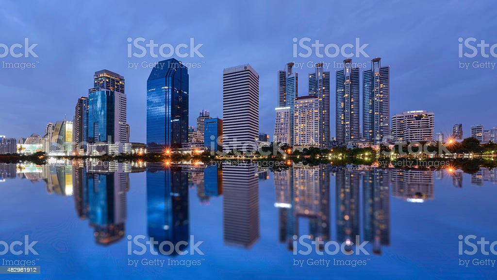 Bangkok city downtown at night with reflection of skyline, Bangkok,Thailand royalty-free stock photo