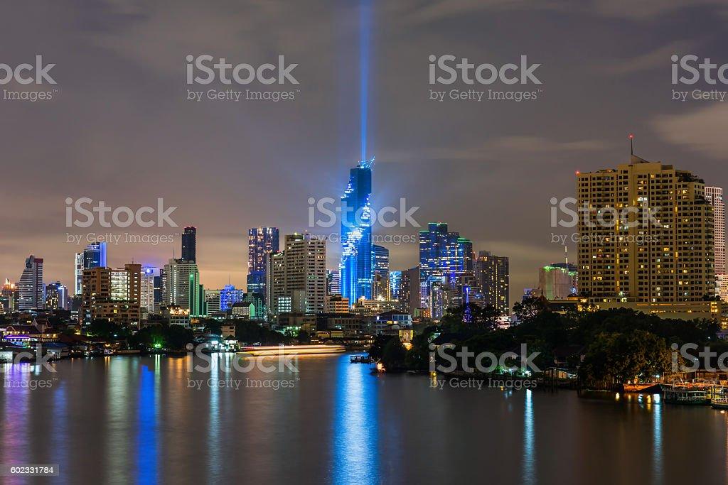 Bangkok city downtown at night,Thailand stock photo