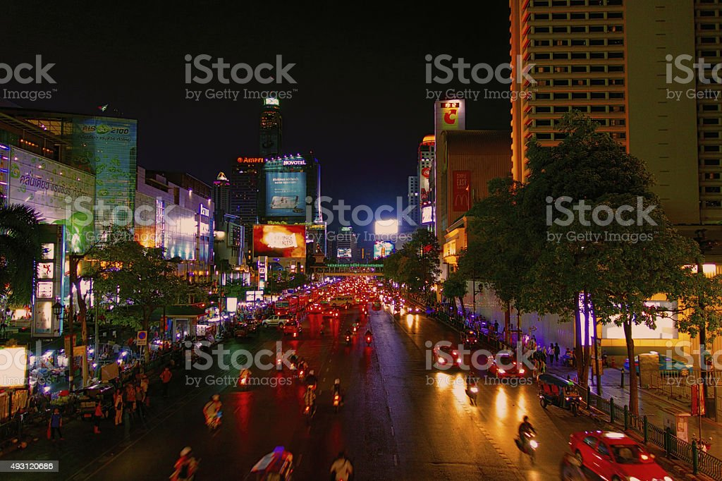 bangkok city lights stock photo