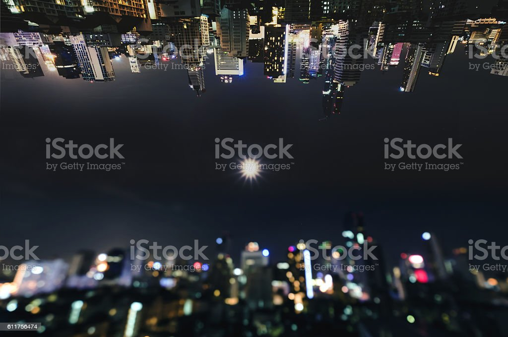 Bangkok City midtown business district at night in inception futuristic stock photo