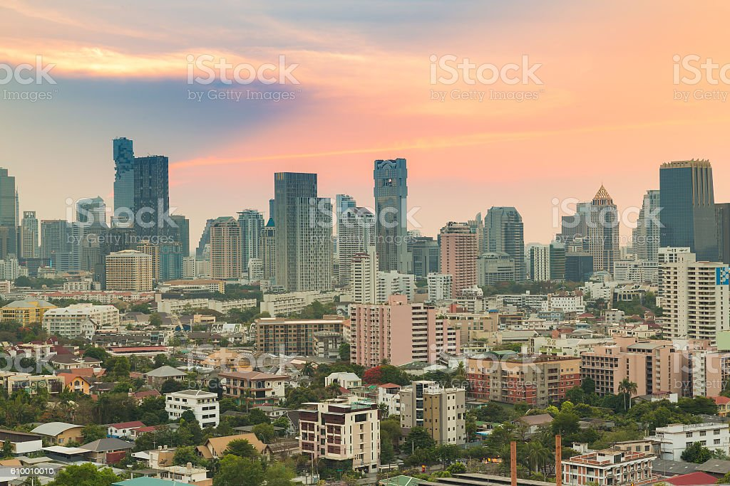 Bangkok city office building skyline stock photo