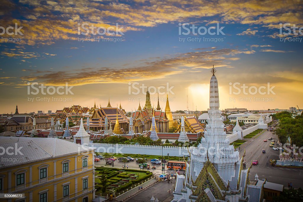 Bangkok City Pillars Shrine and Wat Phra Kaew stock photo