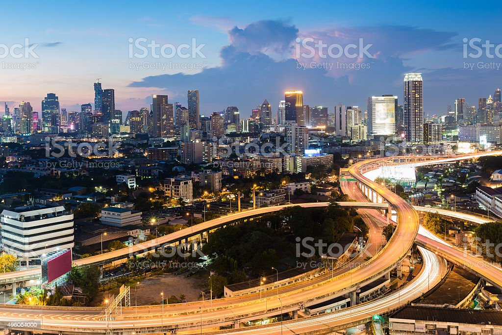 Bangkok city road interchange with central business district stock photo