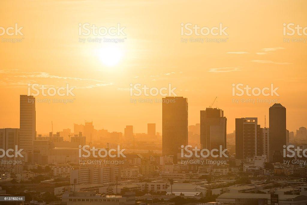 Bangkok city skyline at sunrise stock photo