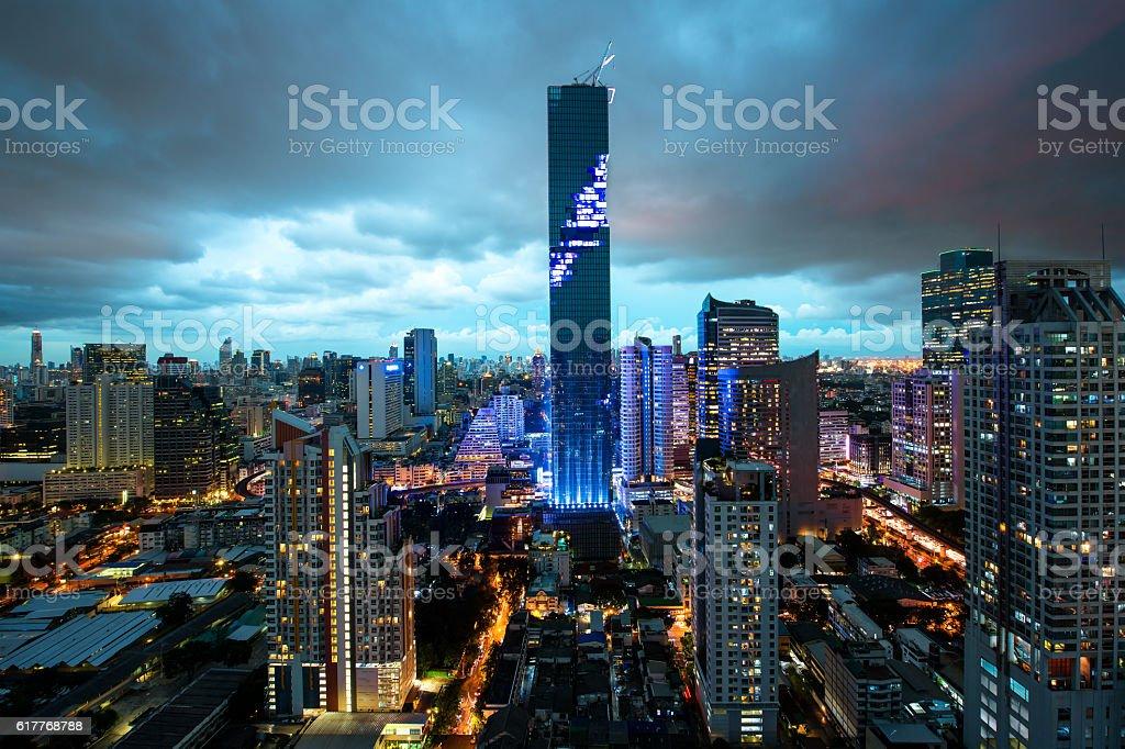 Bangkok city skyline, Mahanakhon skyscraper tower in Thailand stock photo