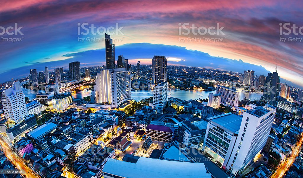 Bangkok City Skyline with chaophya river, Thailand. stock photo