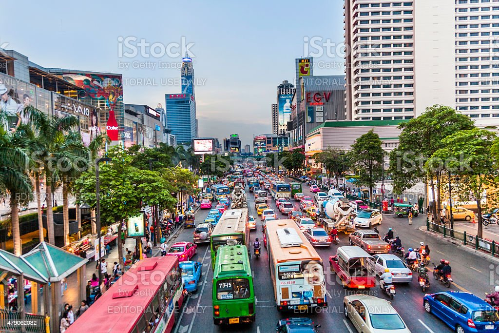 Bangkok cityscape and traffic in sunset stock photo
