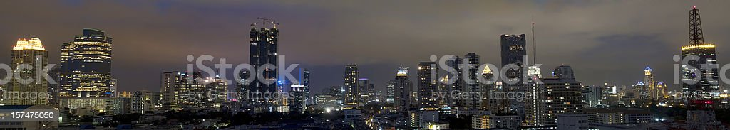 Bangkok Cityscape at night in panorama view royalty-free stock photo
