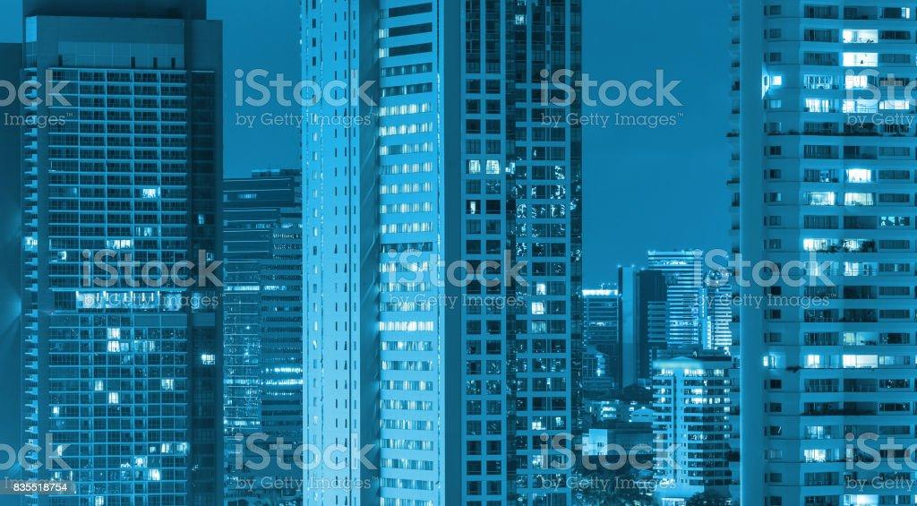 Bangkok cityscape at twilight time, blue color tone stock photo