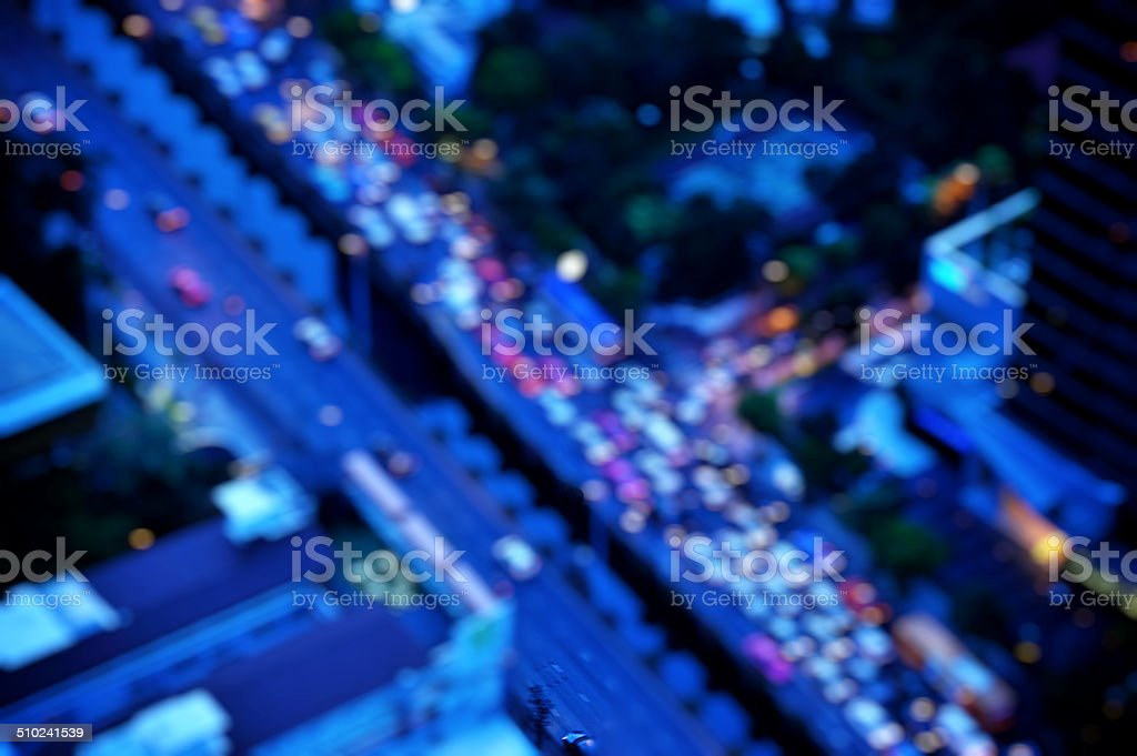 bangkok cityscape at twilight time, Blurred Photo bokeh stock photo