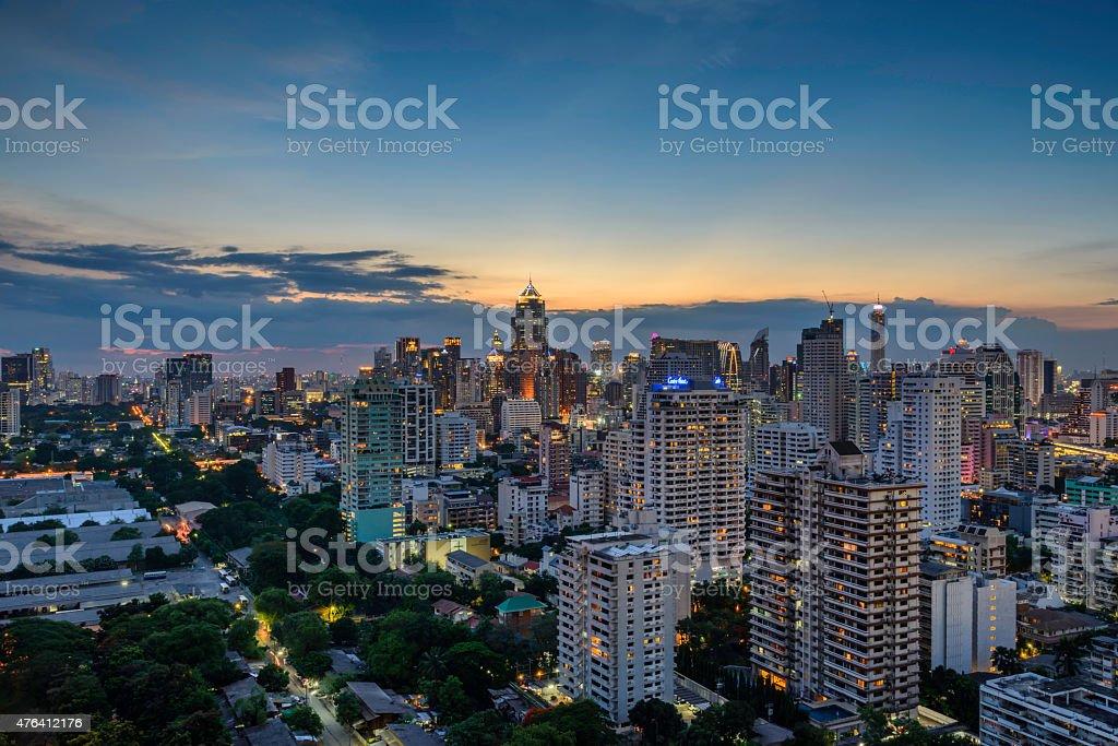 Bangkok Cityscape, Business district with high building at dusk (Bangkok, Thailand) royalty-free stock photo