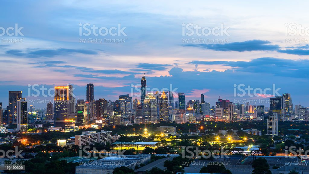 Bangkok Cityscape, Business district with high building at dusk (Bangkok, Thailand) royalty-free stock photo