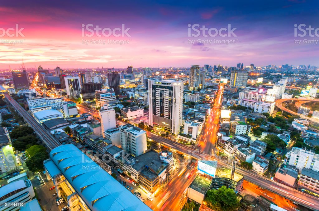 Bangkok Cityscape, Business district with high building at dusk (Bangkok, Thailand) stock photo
