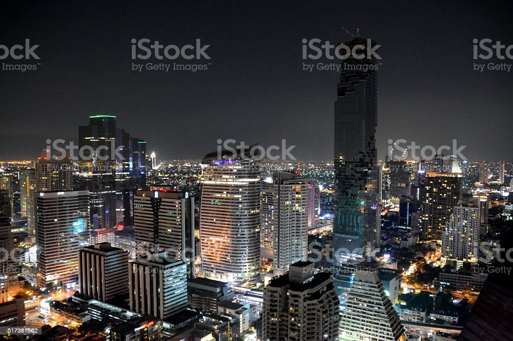 Bangkok cityscape by night, Thailand stock photo