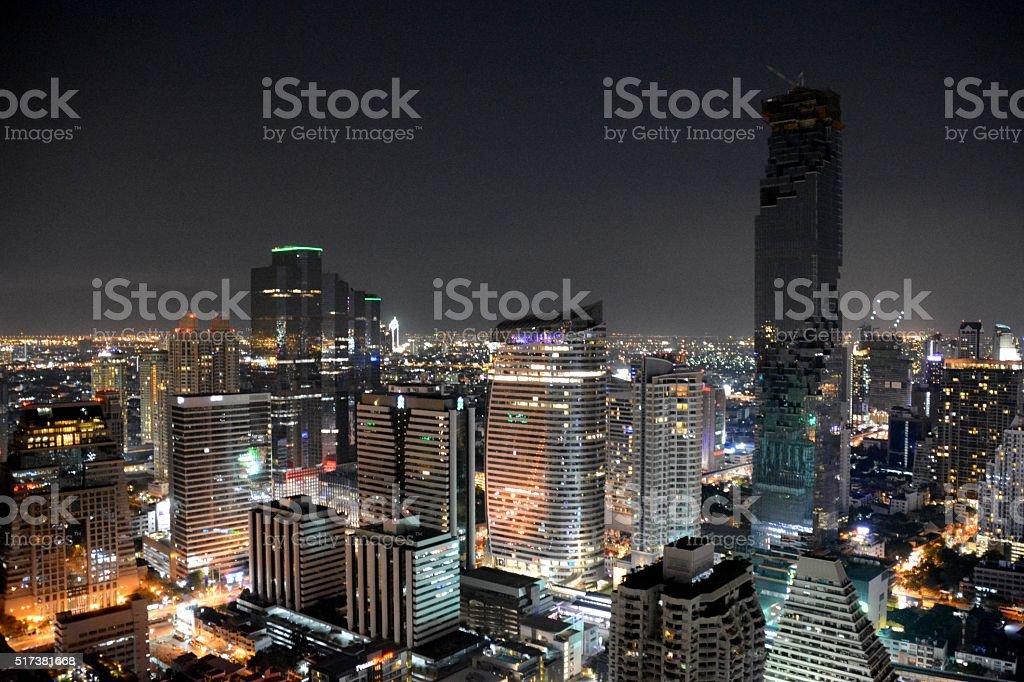 Bangkok cityscape by night, Thailand stock photo