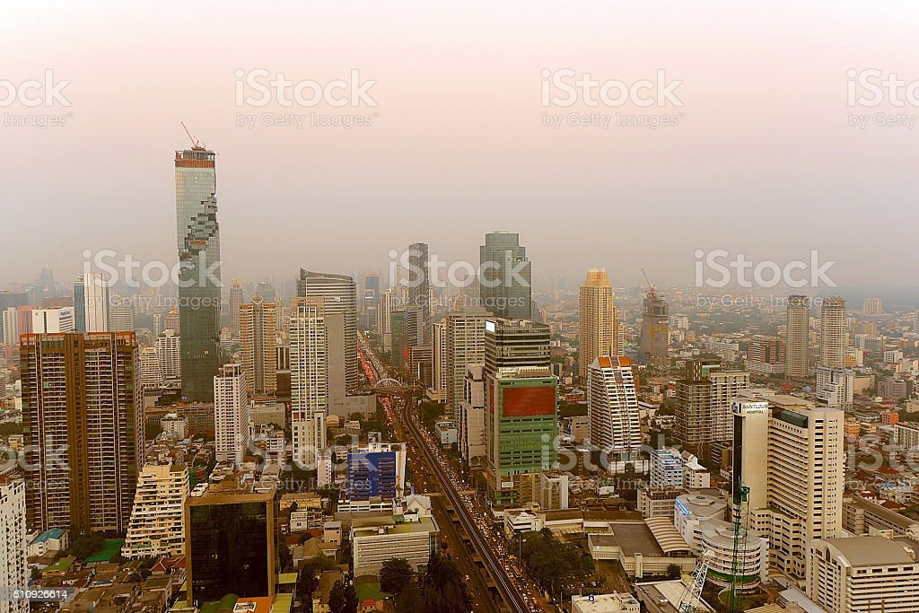 Bangkok cityscape from top view stock photo