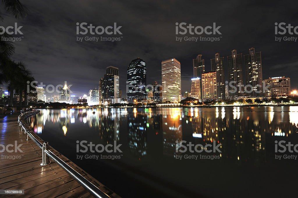 Bangkok cityscape Reflected In Water royalty-free stock photo