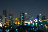 bangkok cityscape river view at twilight time, Blurred Photo bokeh