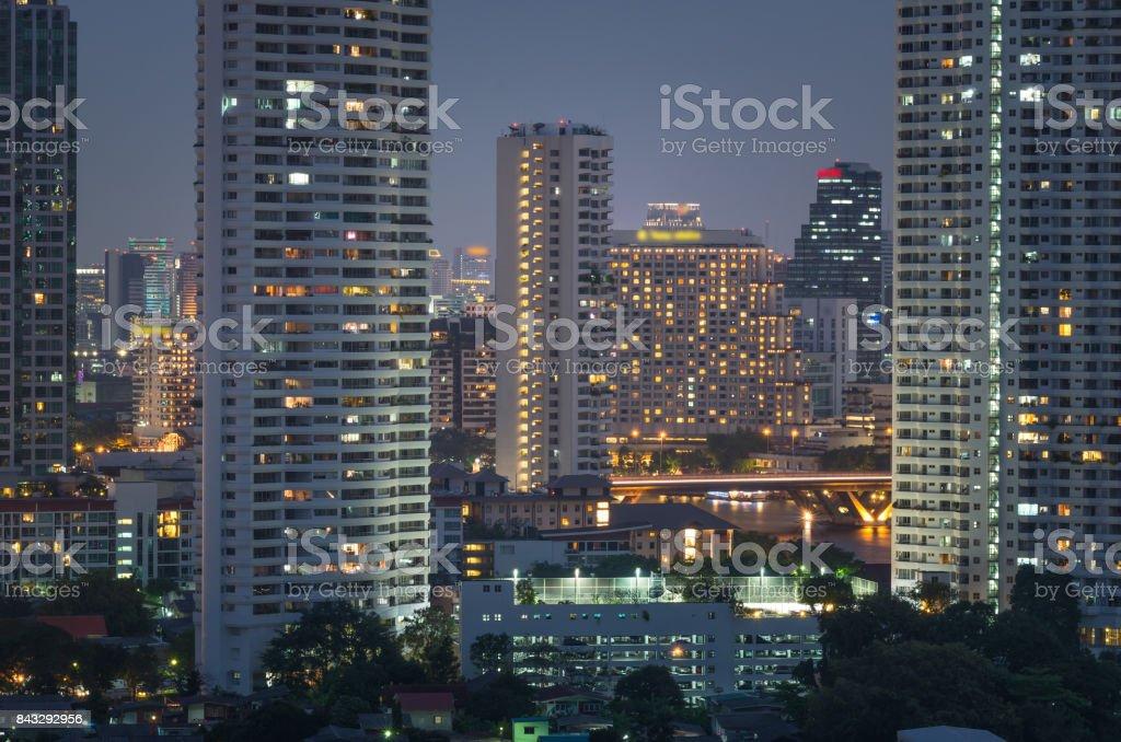 Bangkok cityscape river view at twilight time stock photo