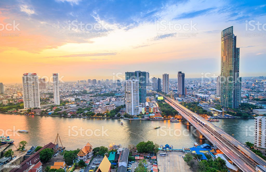 Bangkok Cityscape Sunset stock photo