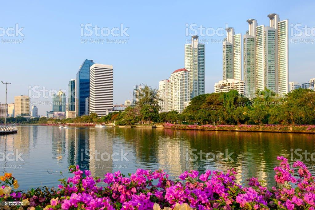 Bangkok cityscape twilight at benjakitti public park on midtown bangkok thailand stock photo
