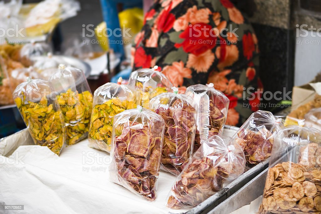 bangkok: colorful dried fruits sold on street market royalty-free stock photo