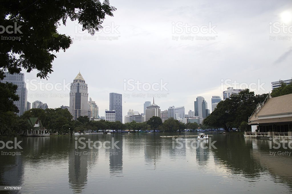 Bangkok district skyline from Suan Lumpini Park royalty-free stock photo