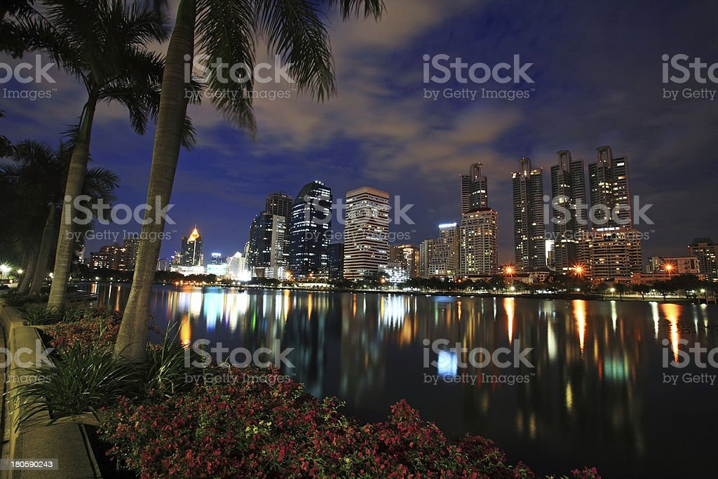 Bangkok downtown cityscape with reflection on the lake royalty-free stock photo
