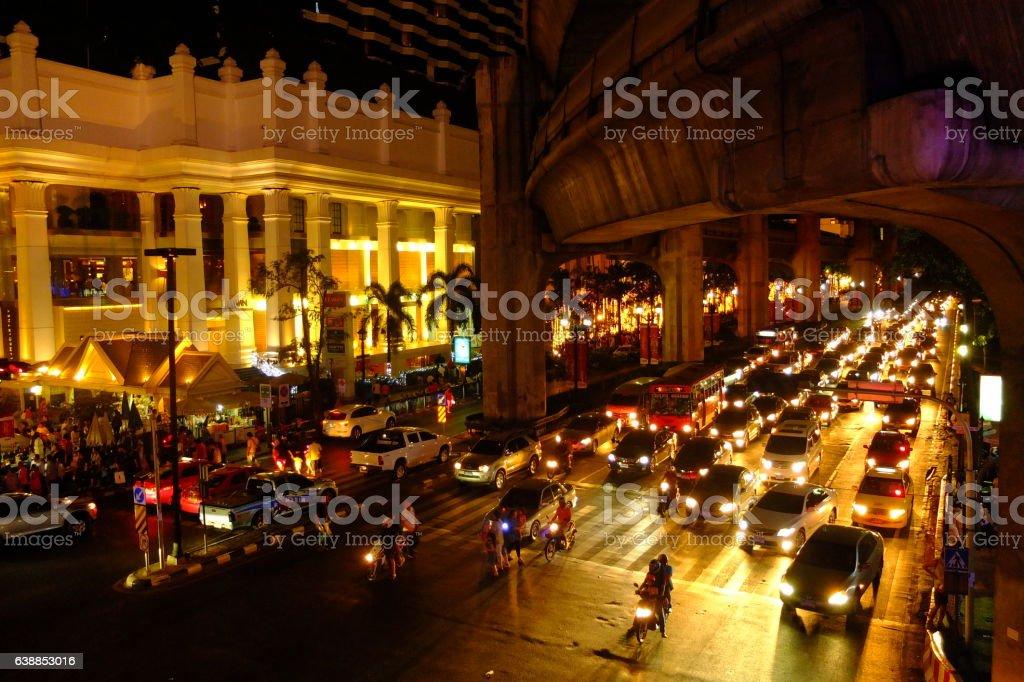 Bangkok downtown night in business zone stock photo