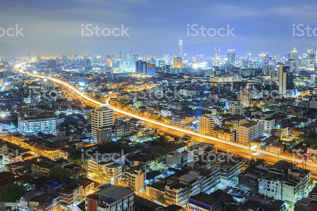Bangkok downtown Skyline at night royalty-free stock photo