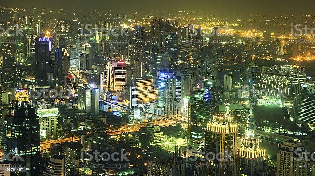Bangkok Downtown Top View at night stock photo