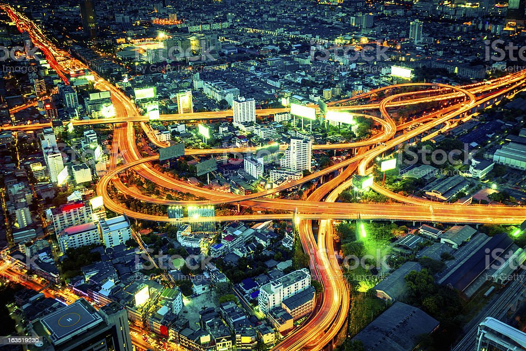 Bangkok downtown with motorway, Thailand stock photo