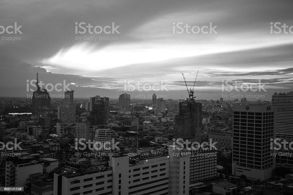 Bangkok evening in black and white stock photo