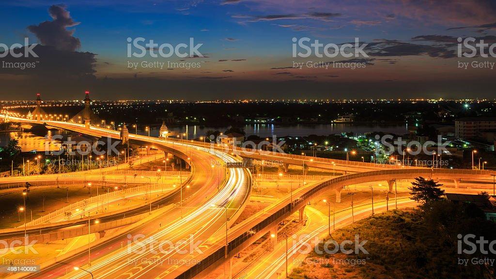 Bangkok Expressway and Highway top view, Thailand stock photo