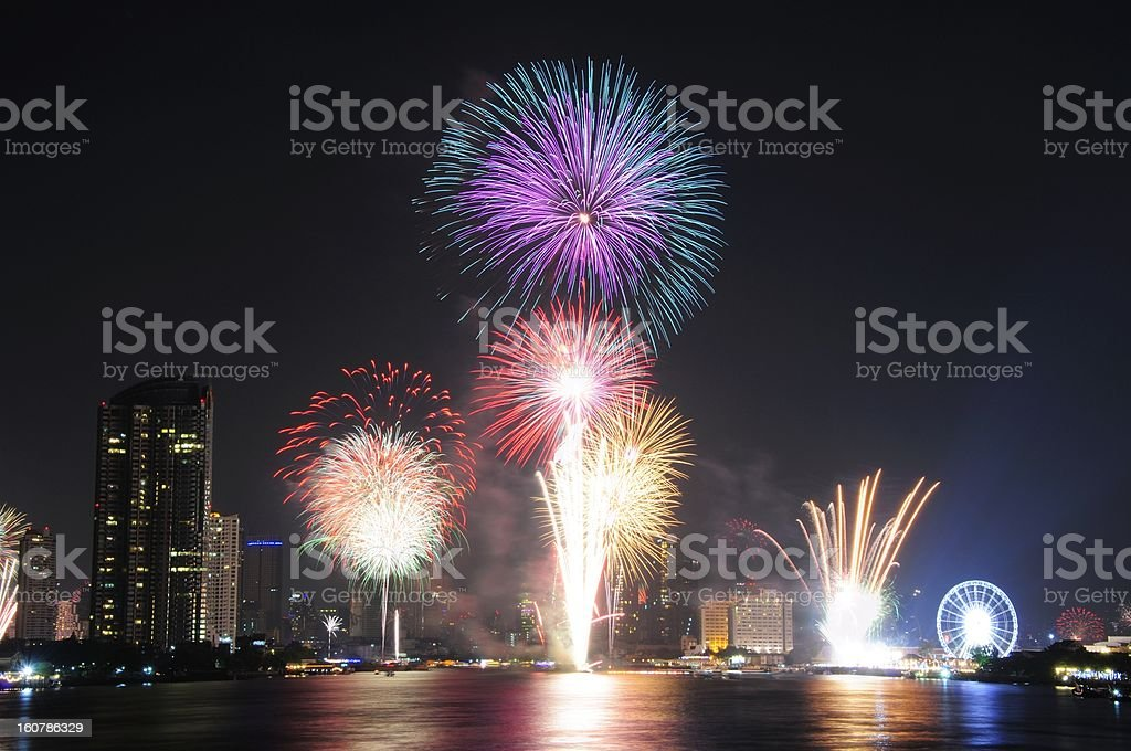 Bangkok Firework royalty-free stock photo