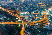Bangkok highway intersection aerial view night time