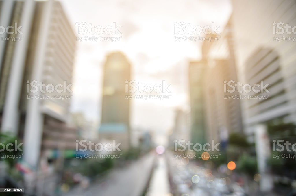 Bangkok highway with building and defocused bokeh lights stock photo
