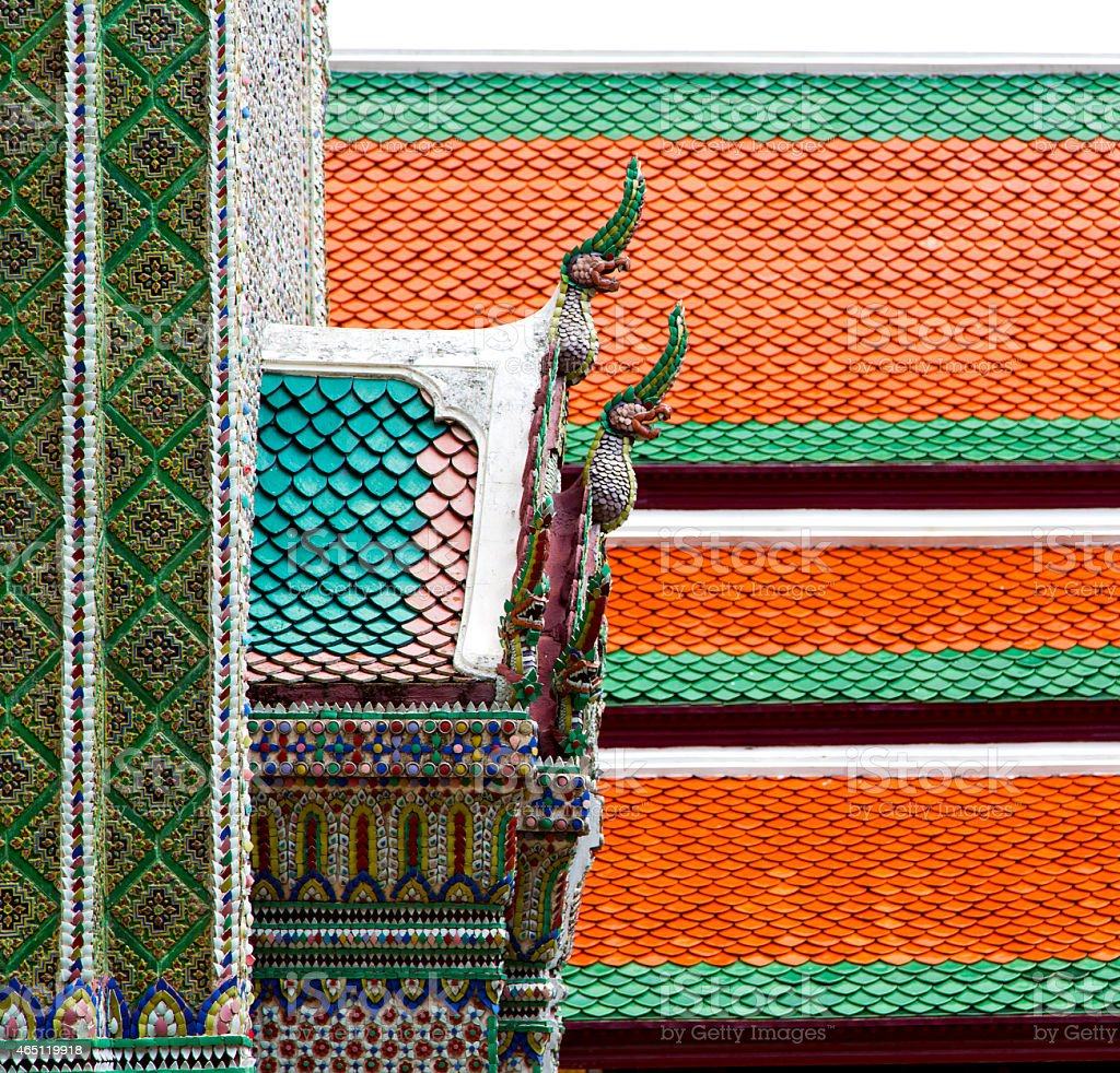 bangkok in the temple    sky and  colors religion mosaic stock photo