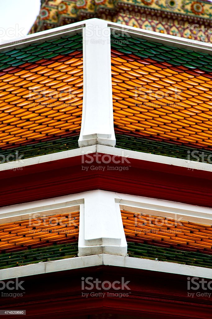 bangkok in the temple  thailand abstract cross     asia sky and stock photo