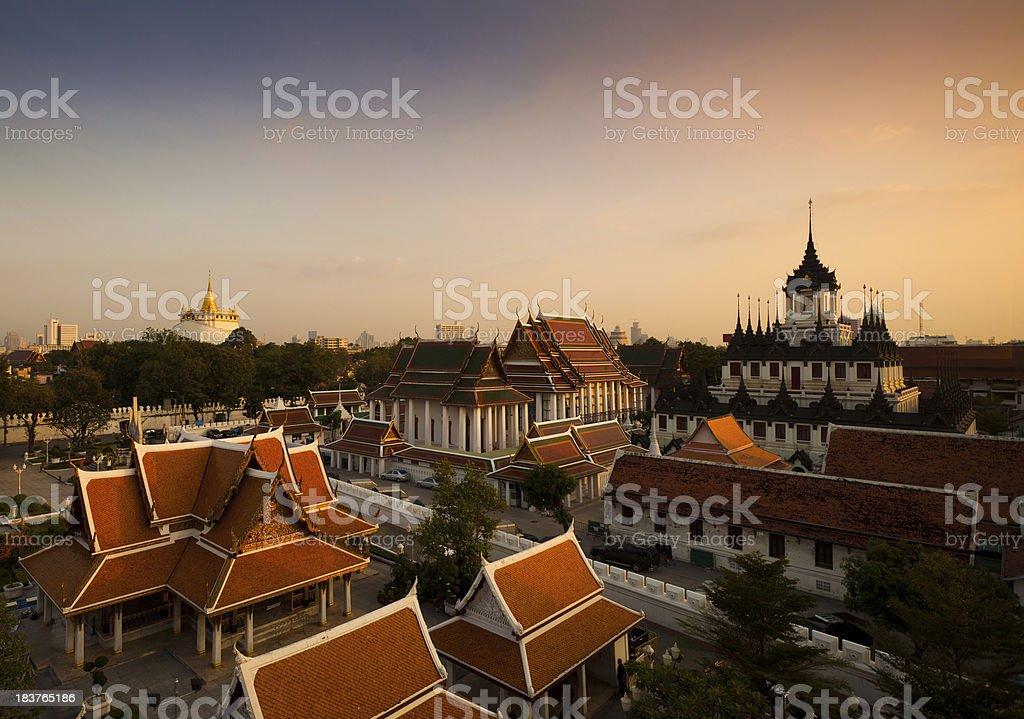 Bangkok Monuments at Sunset royalty-free stock photo