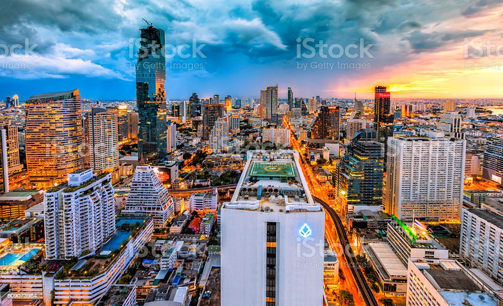 Bangkok night traffic jammed packed with cars. stock photo