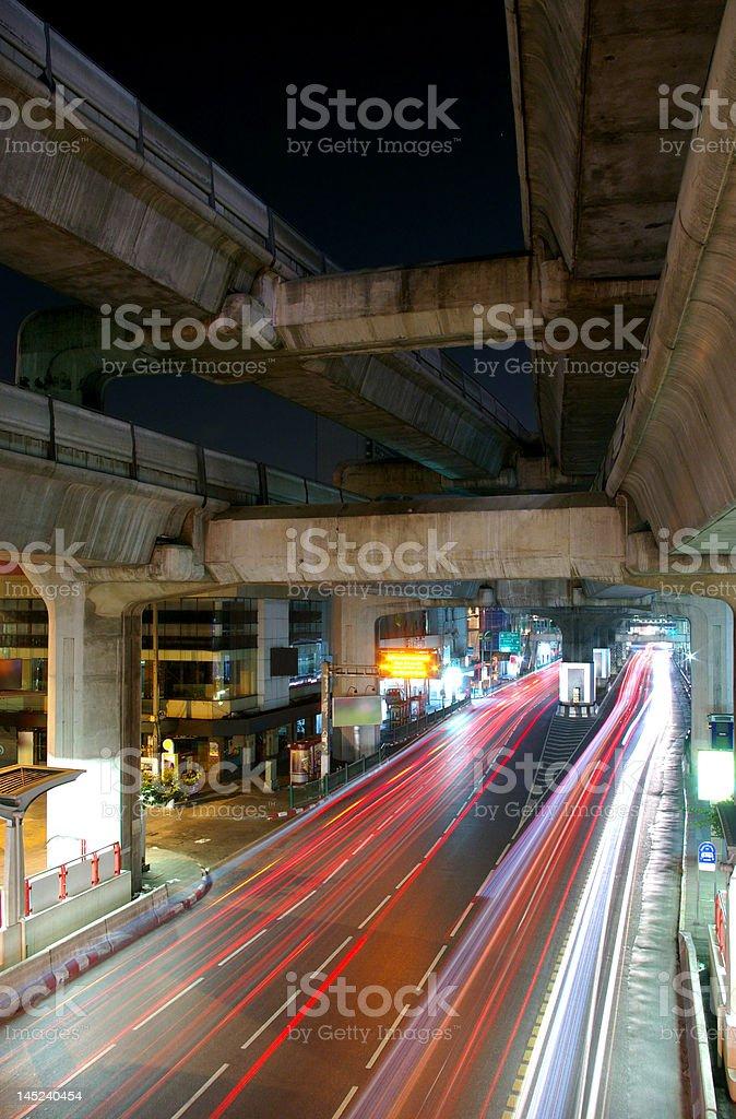 Bangkok night traffic royalty-free stock photo
