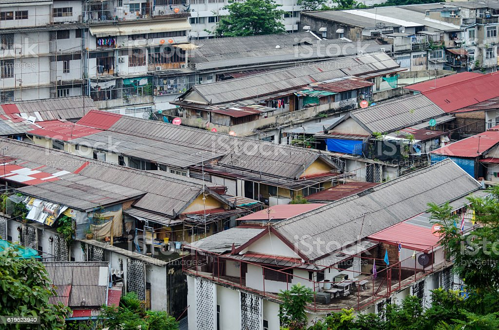 Bangkok old working-class district, poor mass houses stock photo