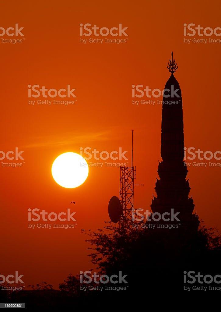 Bangkok pagoda at sunrise royalty-free stock photo