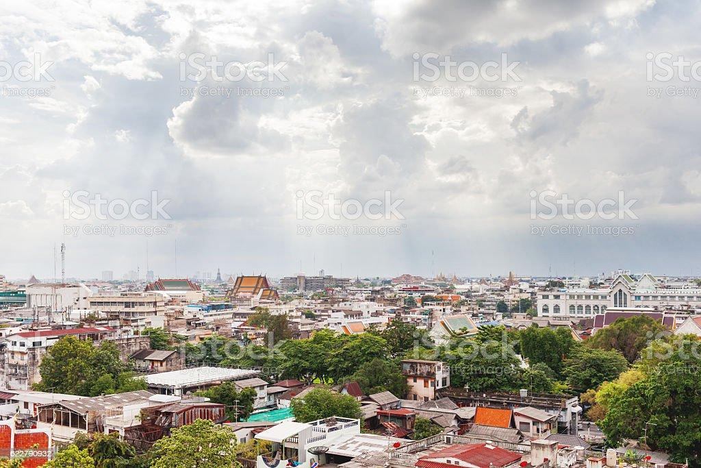 Bangkok, panorama view from the Wat Saket. Thailand. stock photo