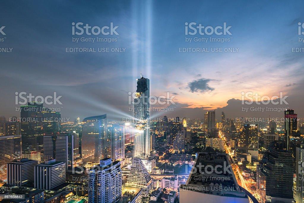 Bangkok Rising Lightshow stock photo