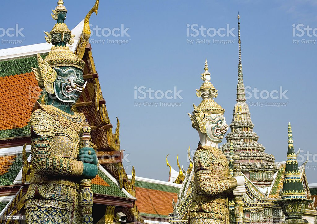 Bangkok Royal Complex: Palace, Stupas, Guardian Demons royalty-free stock photo