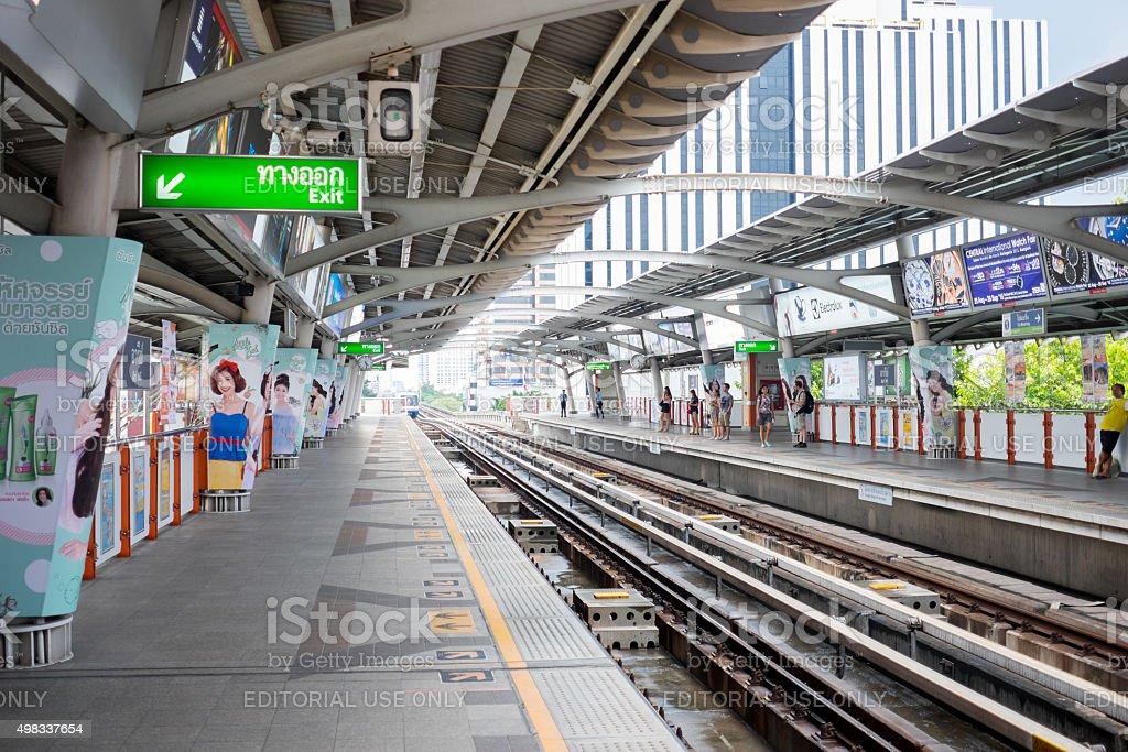Bangkok sky train station stock photo
